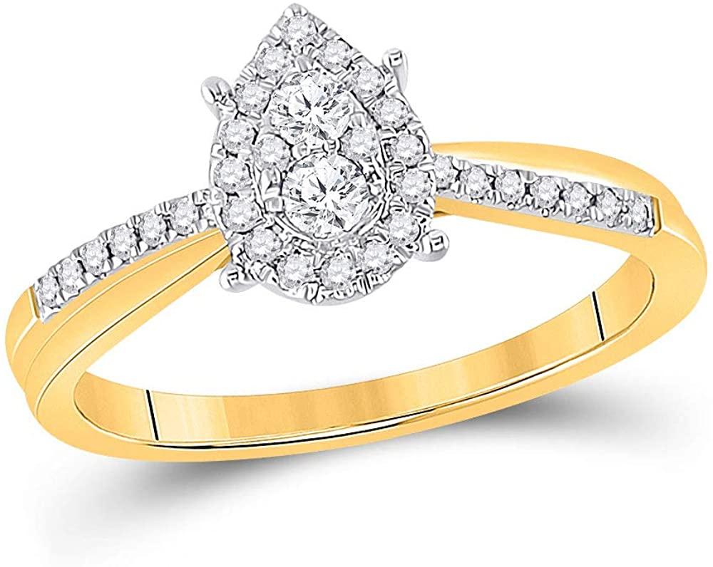 10kt Yellow Gold Womens Round Diamond Cluster Pear Promise Bridal Ring 1/4 Cttw