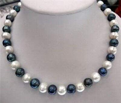 Davitu Necklaces - 8-9mm Natural Black & White Akoya Cultured Pearl Fashion Jewelry Necklace