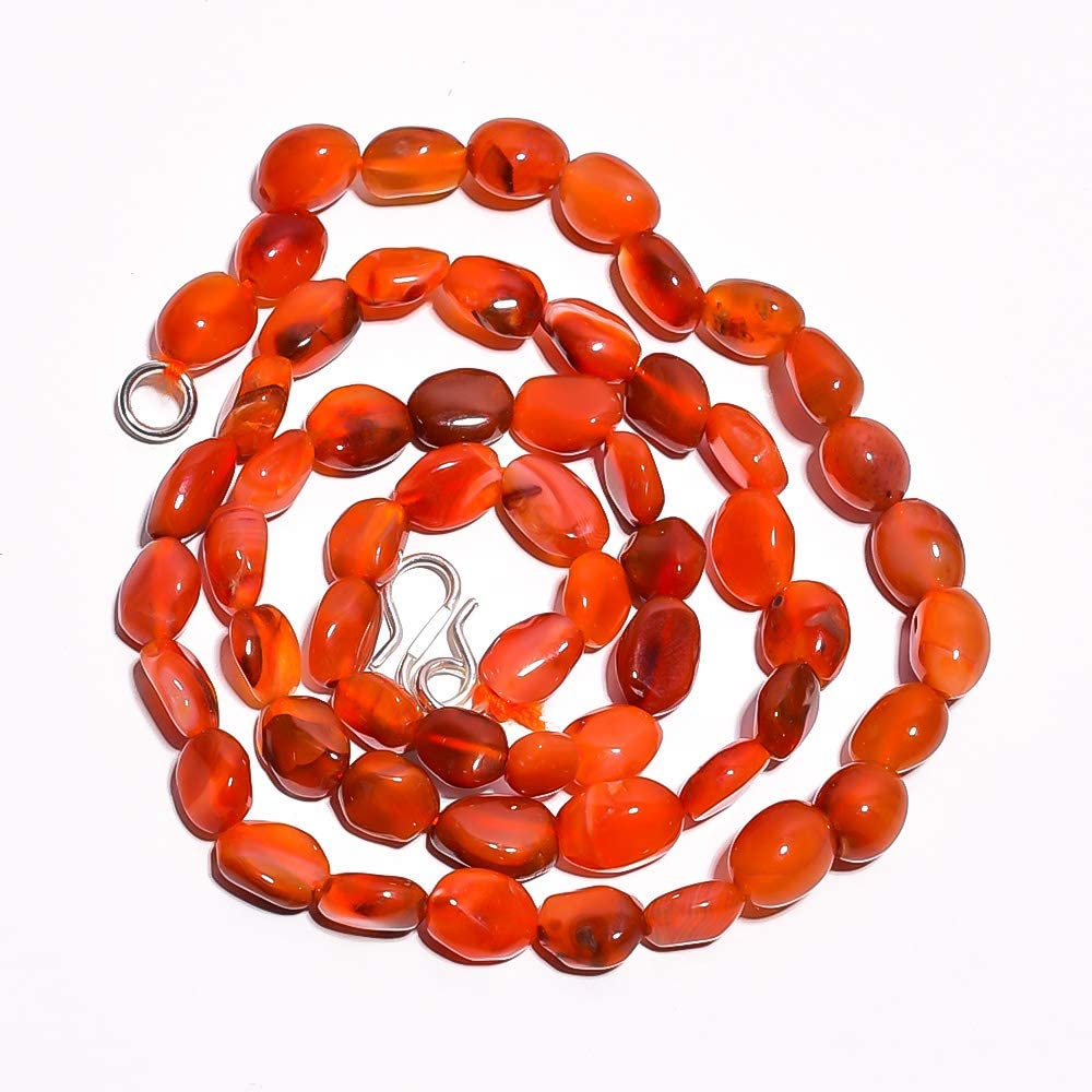 Kanta Incorporation Natural Carnelian Gemstone Oval Smooth Beads Necklace 17.5