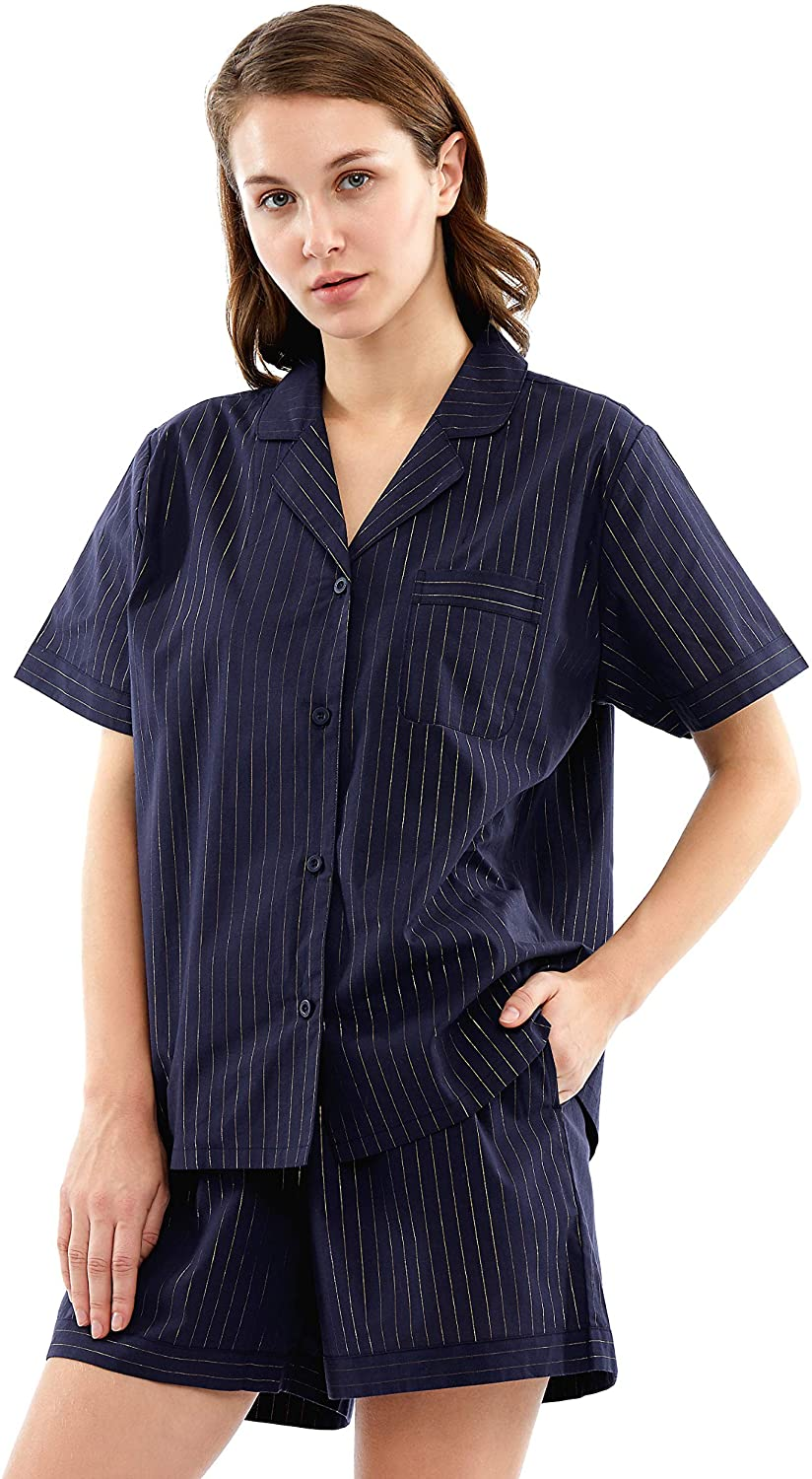 Femofit Womens Luxury Pajama Set Cotton Short Sleeve Sleepwear Set Button Down Loungewear PJs S~XL