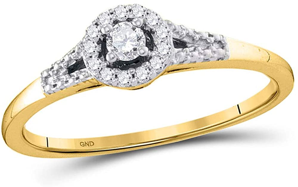 10kt Yellow Gold Womens Round Diamond Solitaire Promise Bridal Ring 1/8 Cttw
