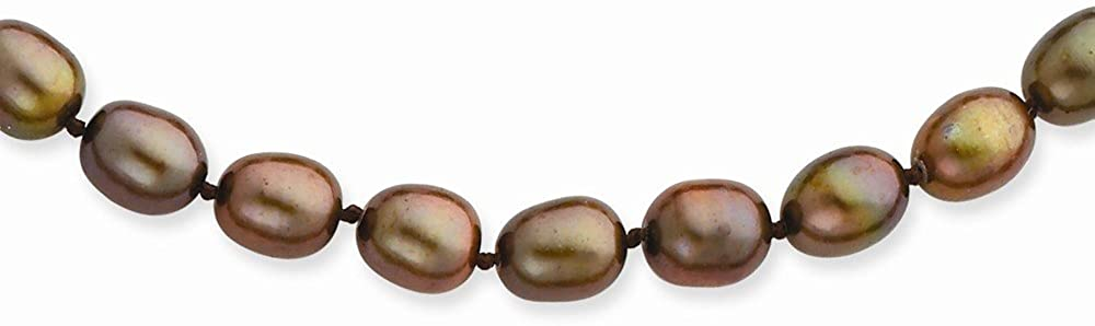 14k Yellow Gold 6-7mm Coffee Brown Freshwater Cultured Pearl Necklace