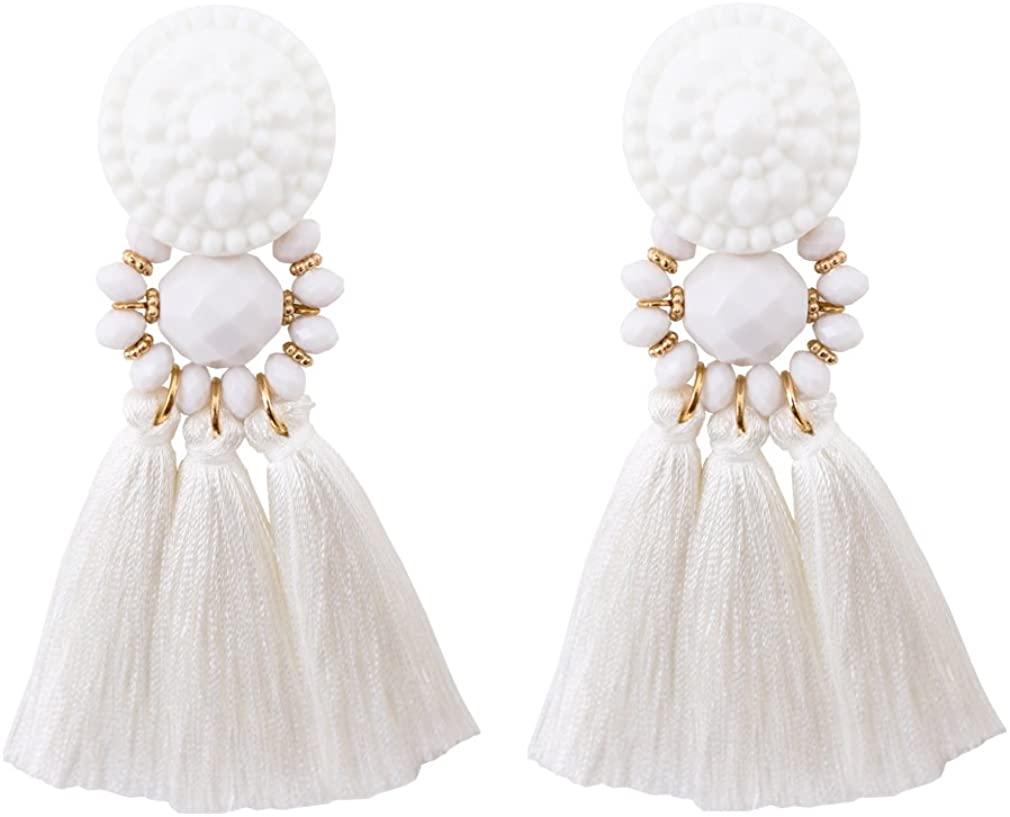 Boderier Bohemian Statement Thread Tassel Chandelier Drop Dangle Earrings with Cassandra Button Stud (White)