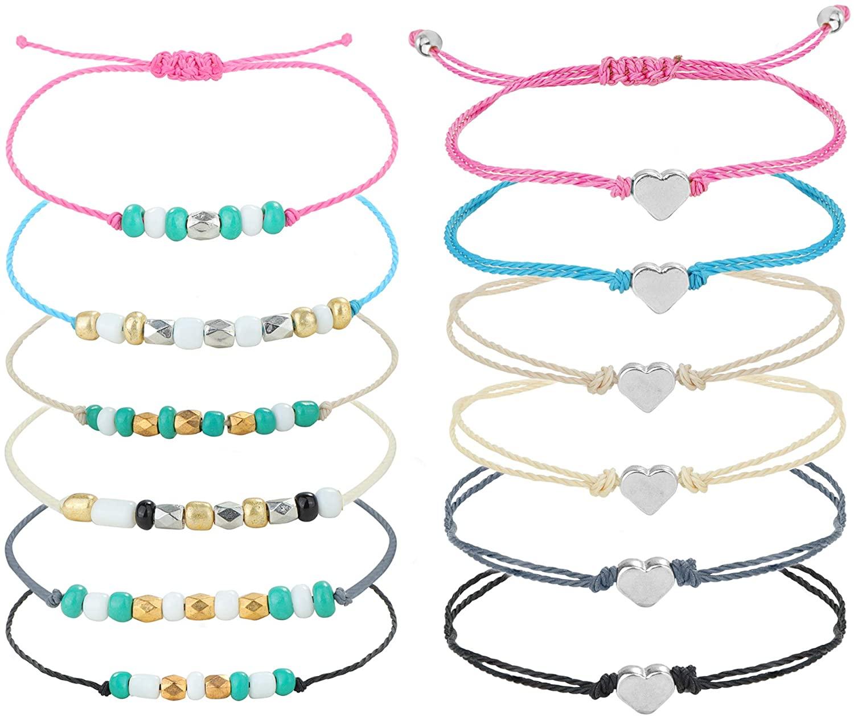 CASSIECA 12 Pcs Bohemian Beads Anklet for Women Grils Vsco Bracelet Heart Braided Rope Bracelet Friendship Handmade Bracelet Waterproof Anklet