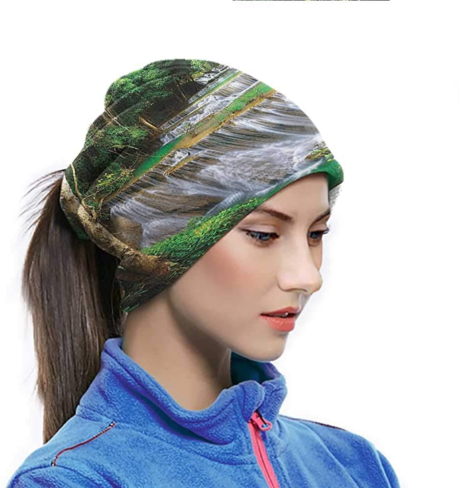 Sun Hat Stunning View of Waterfall in Kanjanaburi Stream Crossing Forest Image UV Resistence Balaclava for Extra Protection Under Helmet Green Brown 10 x 11.6 Inch