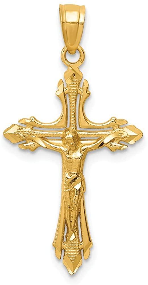14K Yellow Gold Shiny-Cut Crucifix Pendant