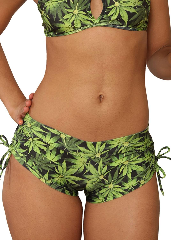 Sassy Assy Cheeky Tie Side Marijuana Print Shorts
