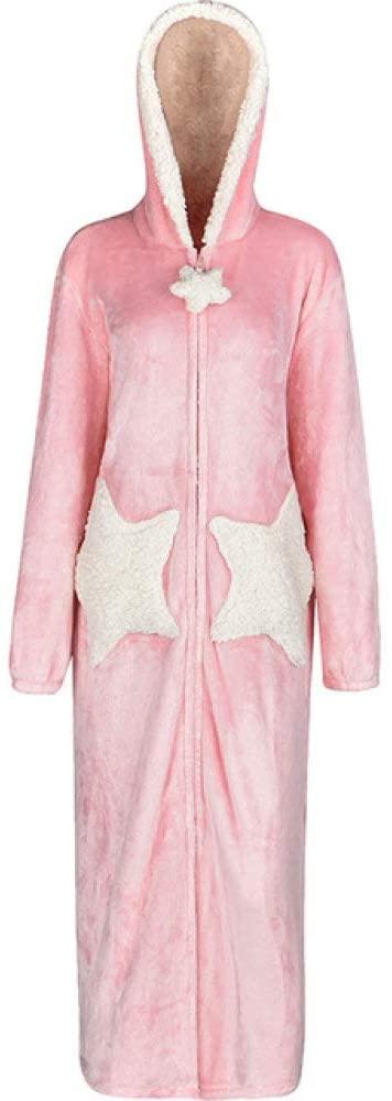 llwannr Bathrobe Robe Nightgown Sleep,Men Winter Plus Size Long Cozy Flannel Bathrobe Star Thick Warm Coral Plush Zipper Bath Robe Night Dressing Gown Women Sleepwear,Men Pink Star,L