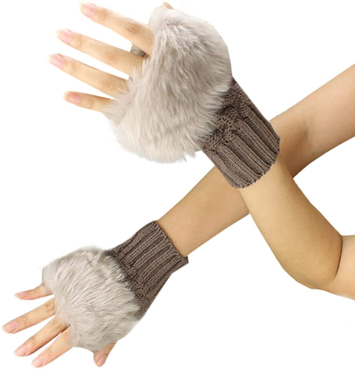 Feynman Womens Winter Faux Fur Knitted Mitten Gloves
