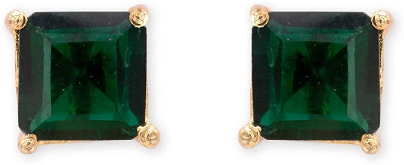 Efulgenz Stud Earrings 14 K Gold Plated Hypoallergenic Cubic Zirconia Square 6 mm Studs Pierced