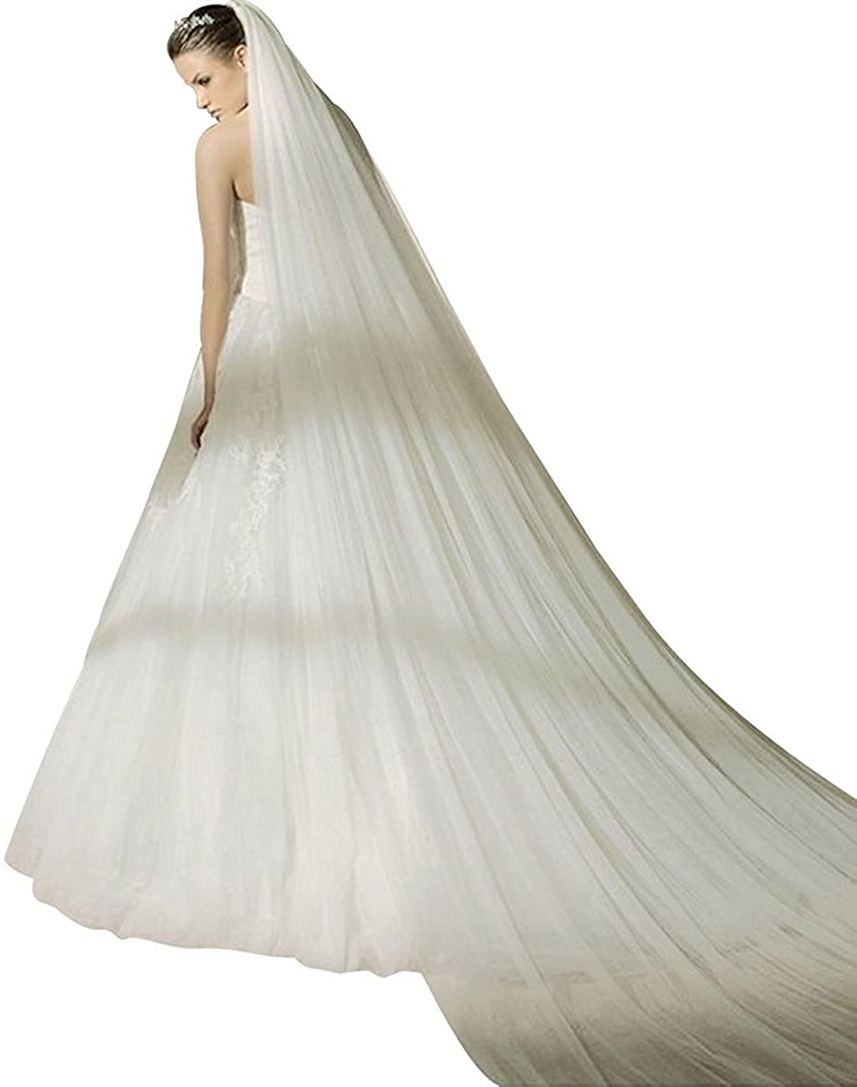 LastBridal Women 3M Tulle Two Layers Cathedral Long Wedding Bridal Veils with Comb