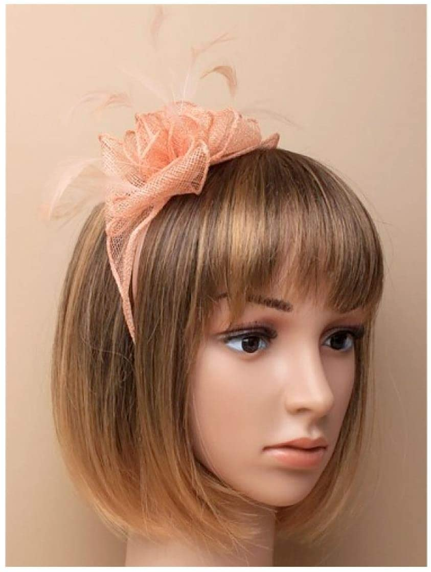 Rimi Hanger Womens Looped Sinamay and Fine Feather Fascinator On an Headband Hair Accessory Nude Pack of 1