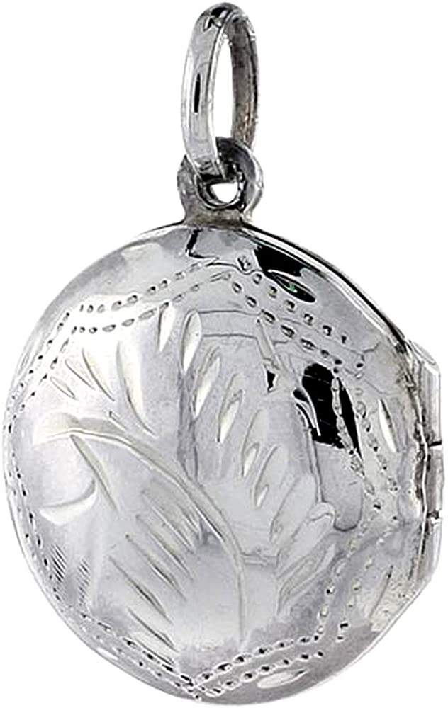 Small Sterling Silver Round Locket Necklace 18 inch Engraved Handmade, 3/4 inch