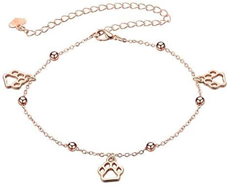 Davitu Anklets - Todorova Animal Pet Paw Print Anklet Foot Chain Anklet Summer Bracelet Charm Anklet Paw Tassel Sandals Beach Foot Jewelry Gift - (Metal Color: Rose Gold Color)