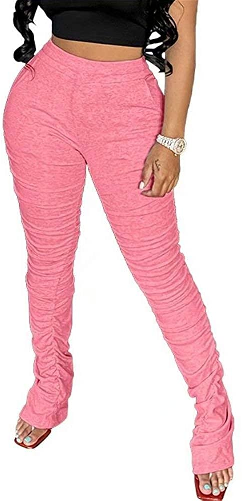 LKOUS Womens' Skinny Flare Pants High Wasist Split Fold Pleated Yoga Leggings Pencil Pant Bottom Trousers