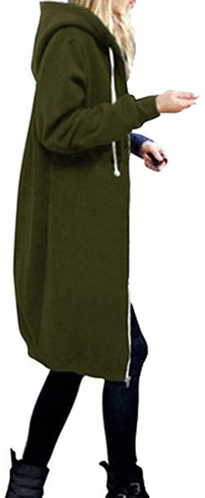 Qinni-shop Women's Long Plus-Size Full Zip Fleece Hoodie Jacket with Pockets Grey Burgundy Blue Army Green