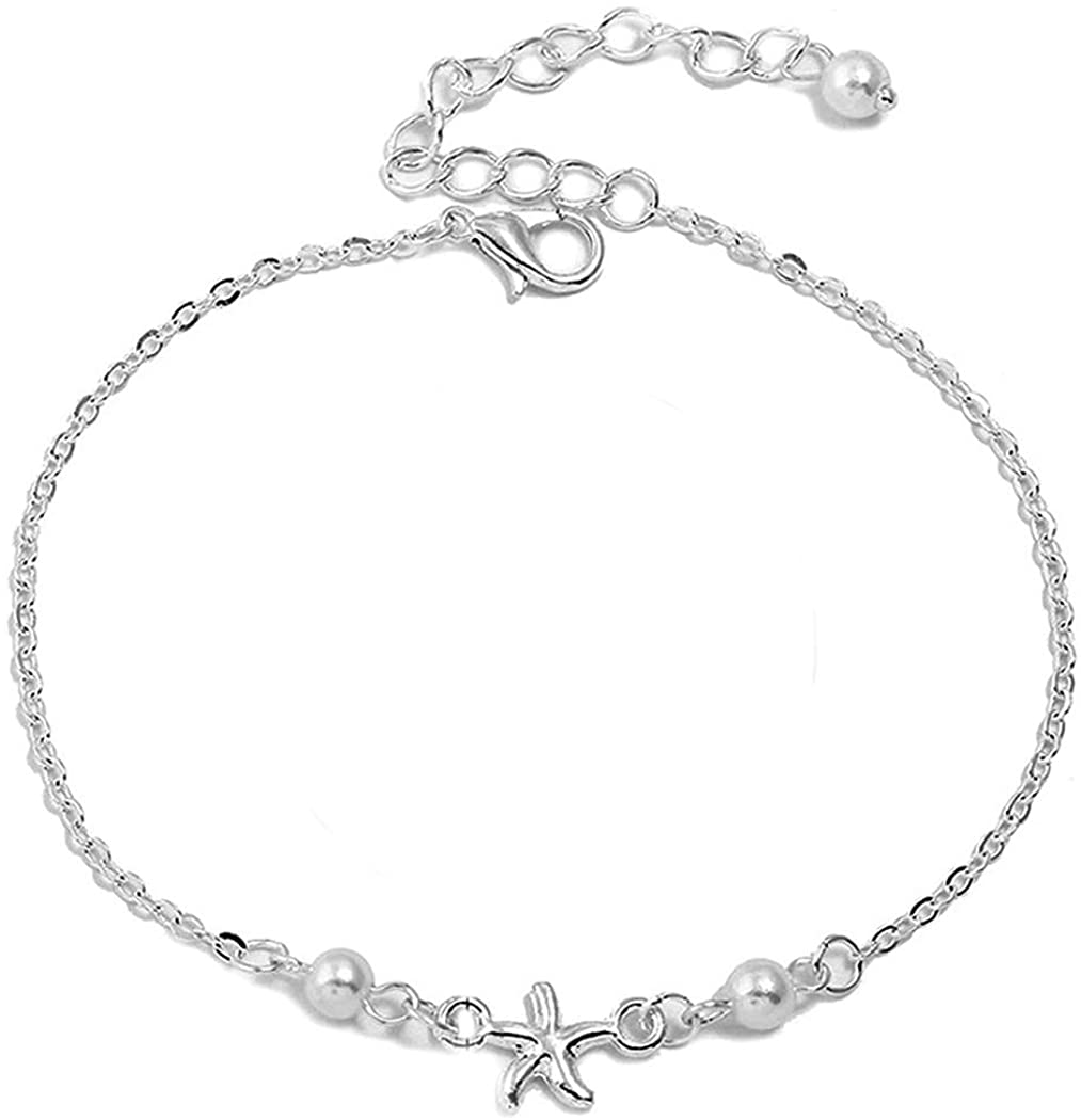 Evild Boho Anklet Silver Sea Star Ankle Bracelet Pearls Summer Foot Jewelry Beach Adjustable Anklets for Women and Girls