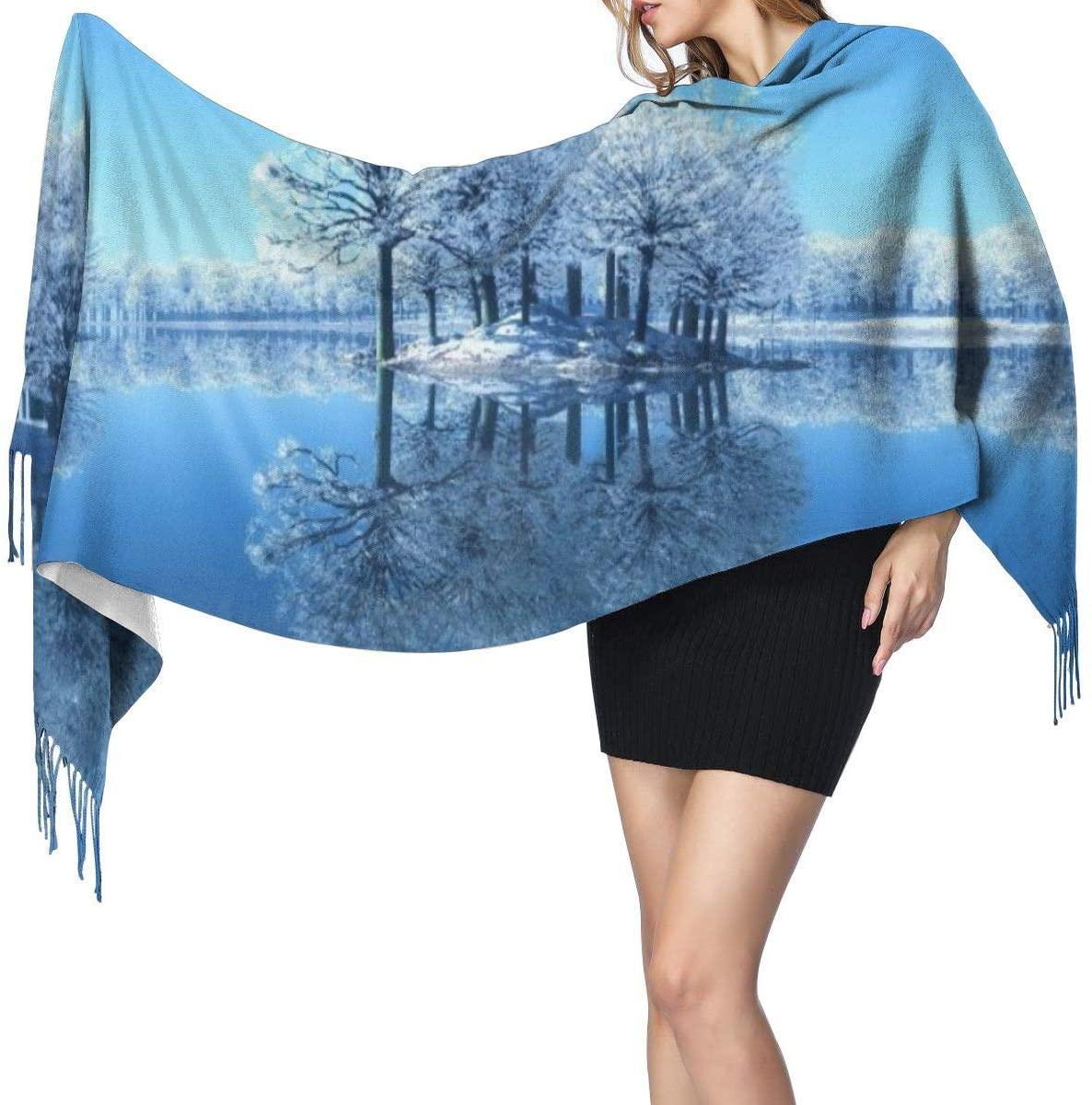 NOT Snow Scene Fashion Long Large Soft Cashmere Shawl Wrap Imitation Cashmere