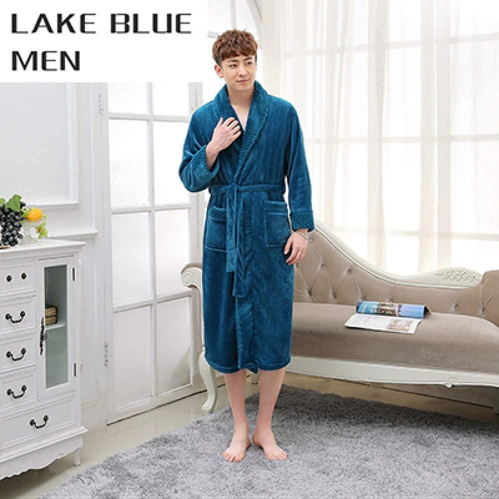 llwannr Bathrobe Robe Nightgown Sleep,Lovers Extra Long Kimono Bath Robe Women Silk Flannel Warm Bathrobe Dressing Gown Bride Bridesmaid Robes Wedding,Men Lake Blue,XL