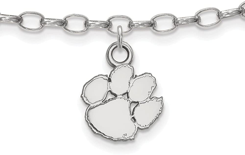 Solid 925 Sterling Silver Official Clemson University Anklet - with Secure Lobster Lock Clasp 9