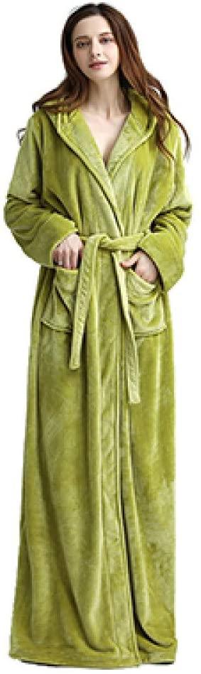llwannr Winter Robe Winter Extra Long Warm Thick Hooded Bathrobe Women/Men Sexy Long Sleeve Ankle Bath Robe Unisex Dressing Gown Female,Green,XL