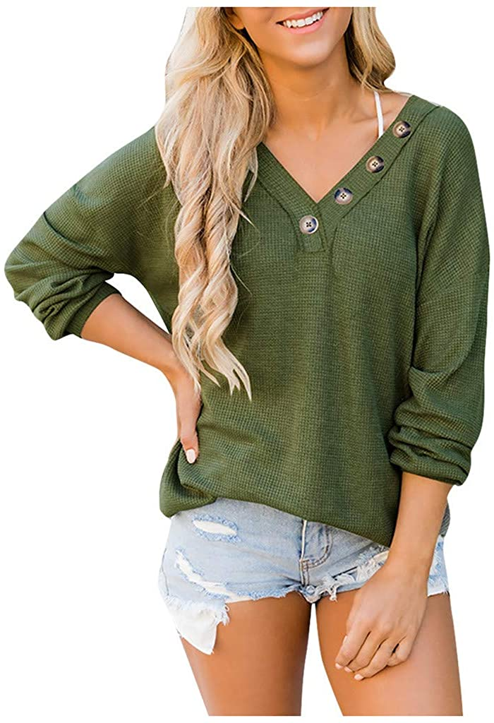ISTU Women Fashion V-Neck Solid Buttons Loose Long Sleeves Tops Blouse Sweatshirt