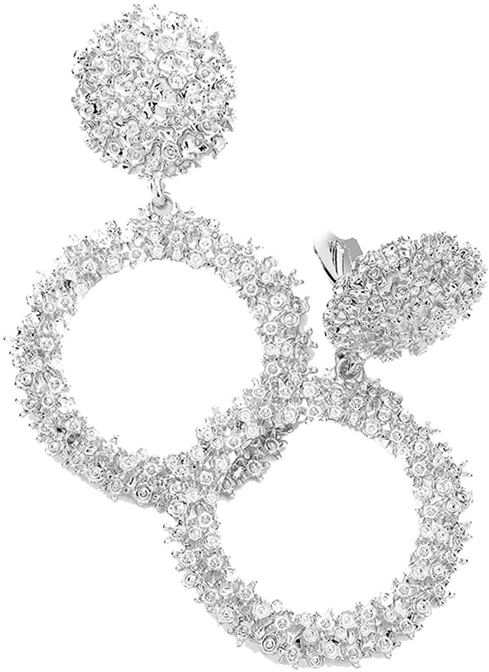 Fashion Modern Style Silvertone Dangle Clip On/Non Pierced Earrings 2.75 in