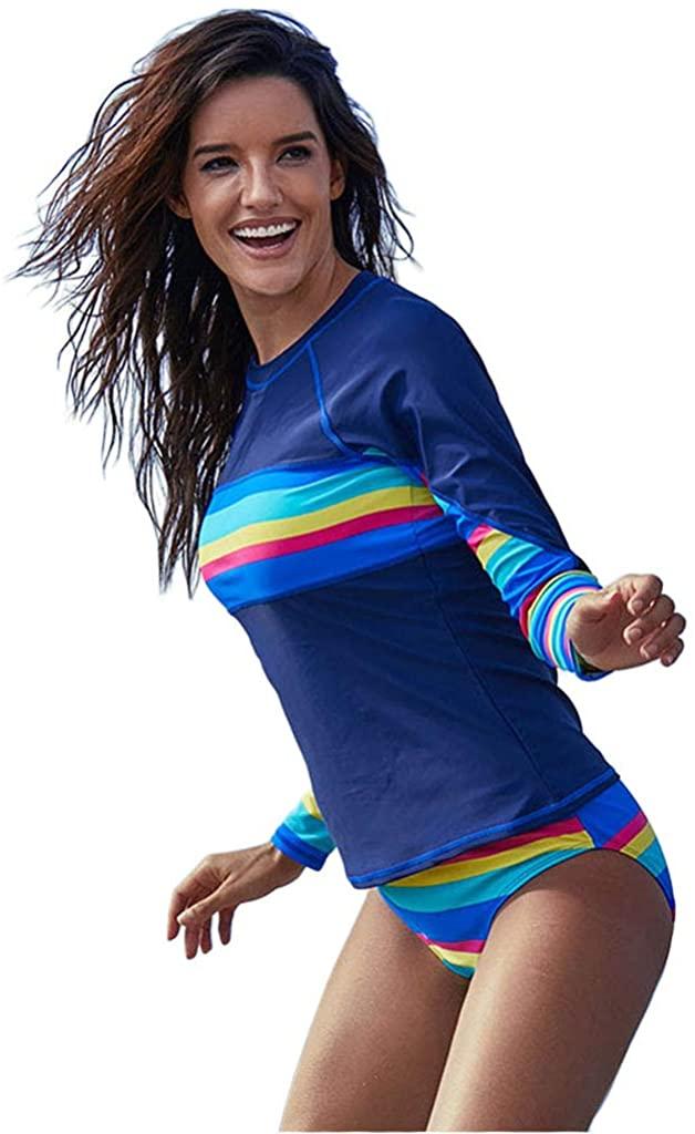 Womens Color Block Rash Guard Swimwear Sets Quick Dry Beachwear Triange Bottom