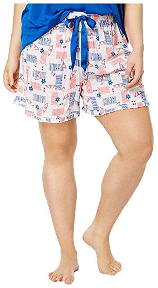 Jenni by Jennifer Moore Women's Plus Size Woven Ruffle-Trim Boxer Shorts, Beach Day, 2X