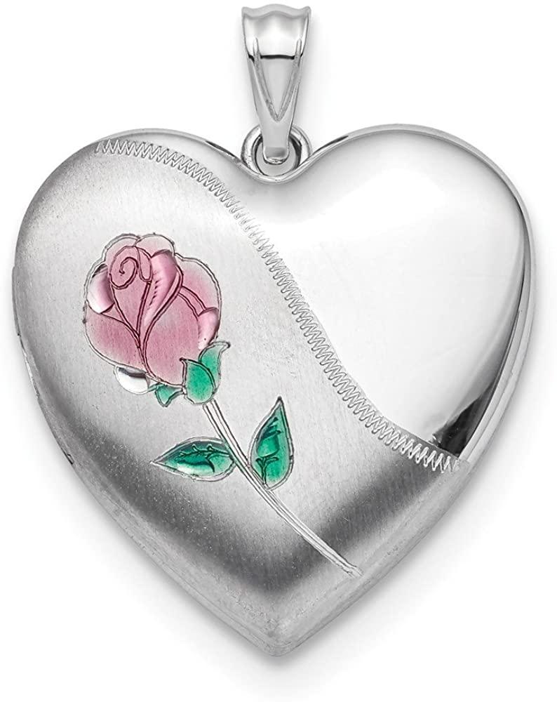 Beautiful Sterling silver 925 sterling Sterling Silver Rhodium 24mm Satin Enamel D/C Rose Ash Holder Locket