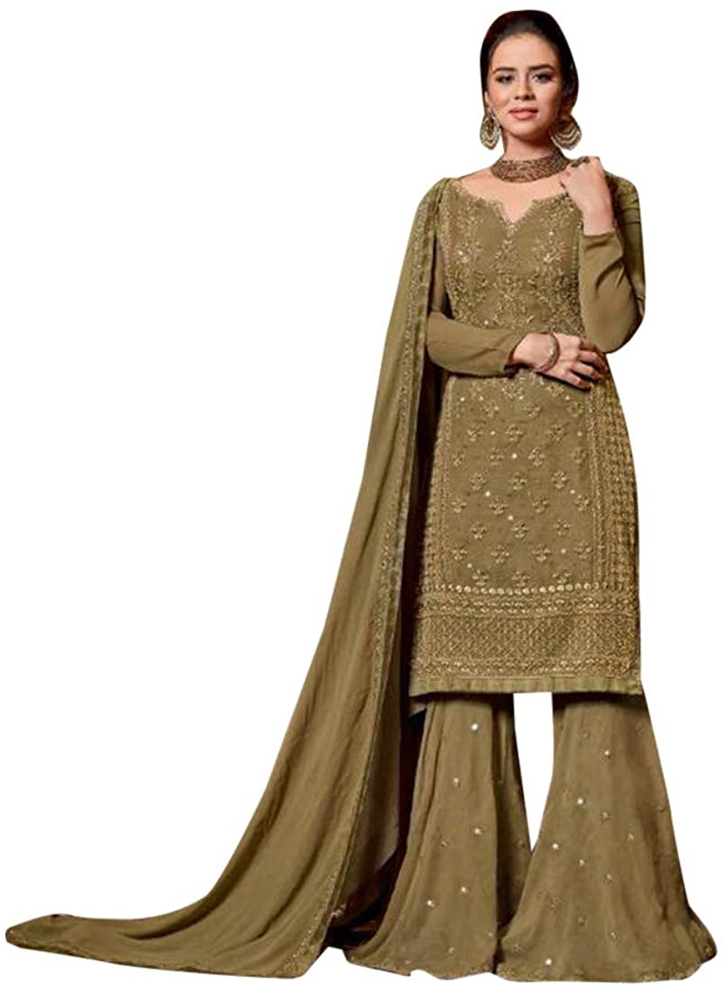 Pinkkart Green Sharara Style Suit Salwar Kameez Suit Muslim Party wear Women Dress 8194