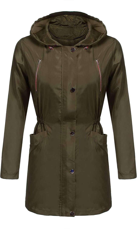 EASTHER Women's Waterproof Raincoat Lightweight Hooded Rain Jacket Windbreaker (1_Army Green, M)