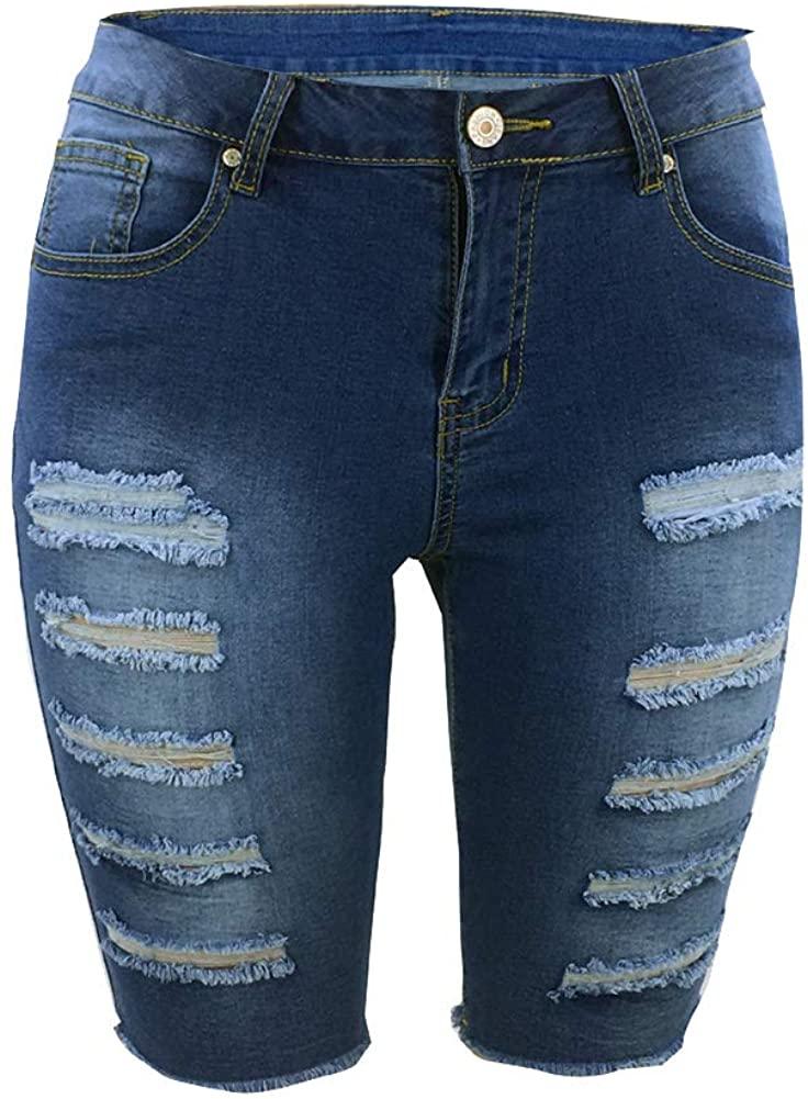 Atditama Women's Sexy Butt Lift Stretch Ripped Distressed Cotton Denim Bermuda Short Jeans