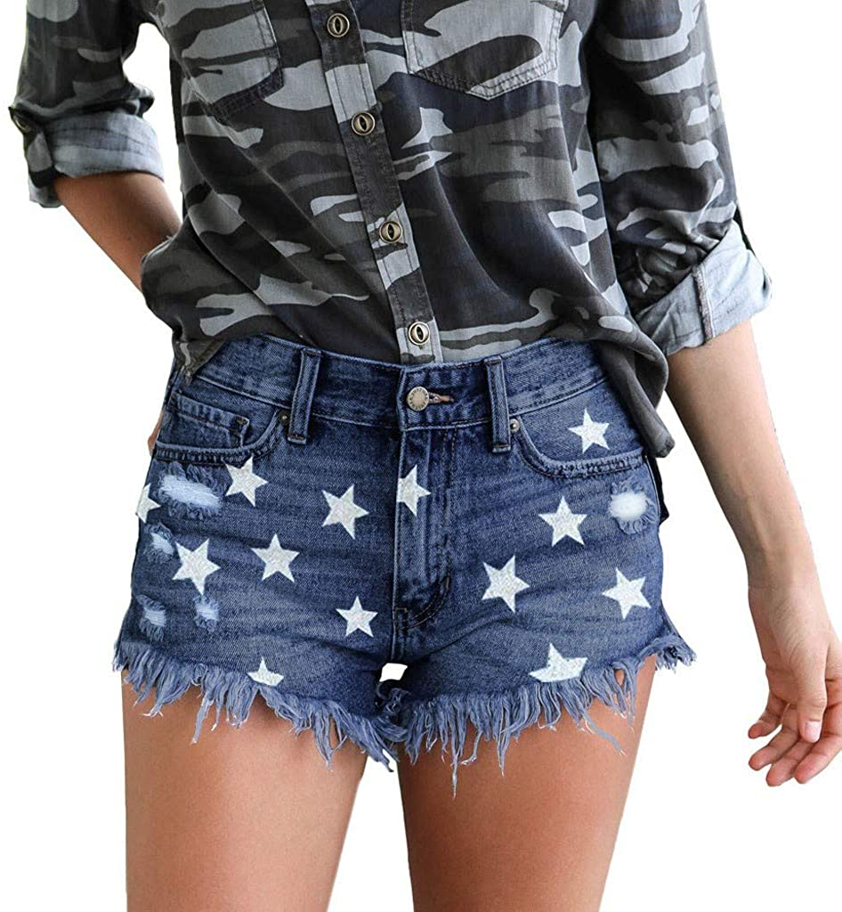Denim Hot Shorts for Women Casual Summer High Waisted Short Jeans with Pockets