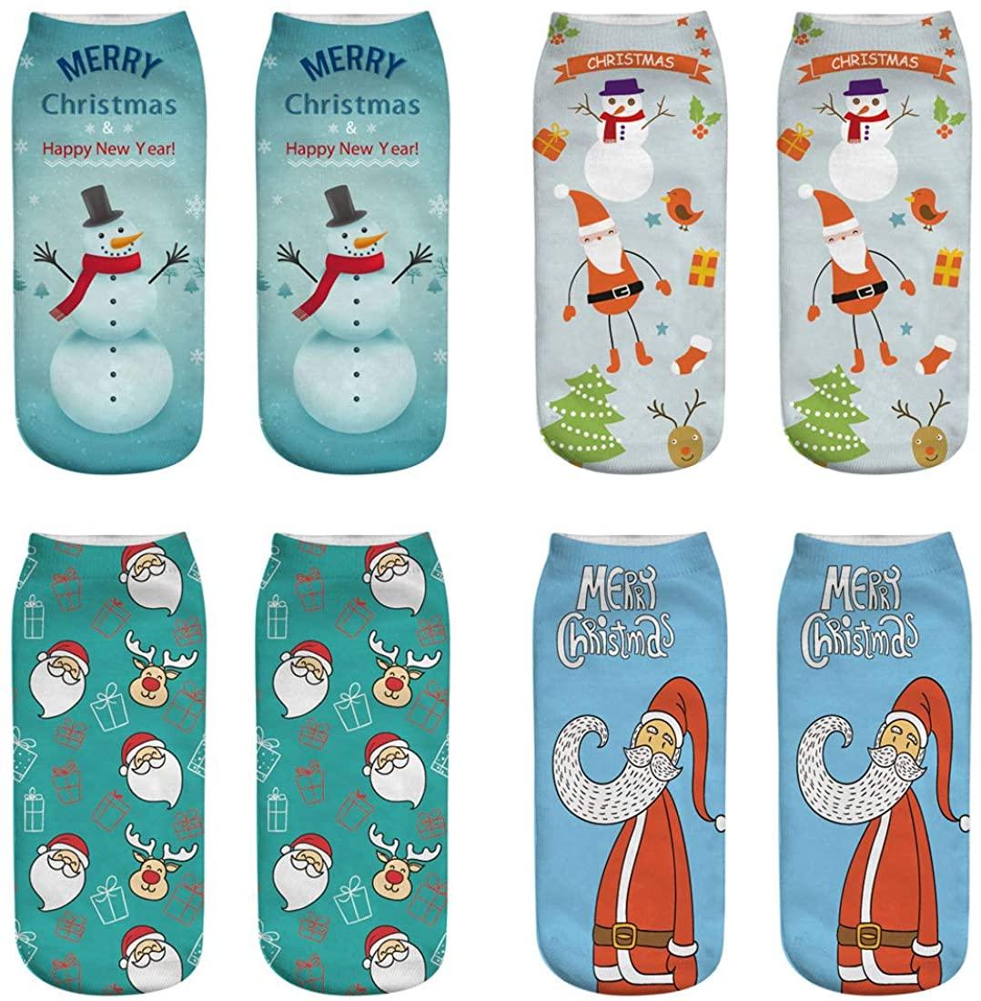XIMIXI 4 Pairs Womens Ankle Socks, Cute Cotton Christmas Snowman Santa Claus Patterns Printed Crew Socks for Ladies Christmas Gifts