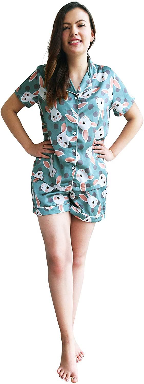 Women's Cute Silk Sleepwear Short Sleeve Set