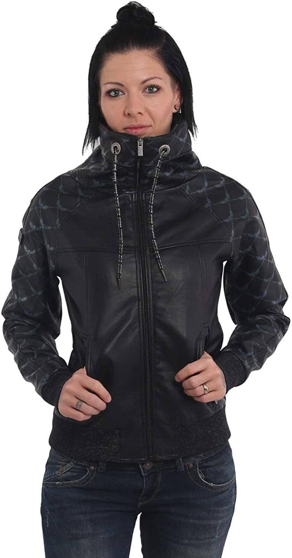 Yakuza Women Faux Leather Jacket Memento Mori High Neck
