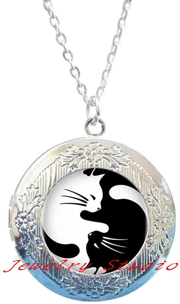 Charming fashion Locket Necklace,Two Yin Yang Cats Locket Necklace Locket Pendant Cabochon Long Chain Statement Locket Necklace For Fashion Women Men-HZ00118
