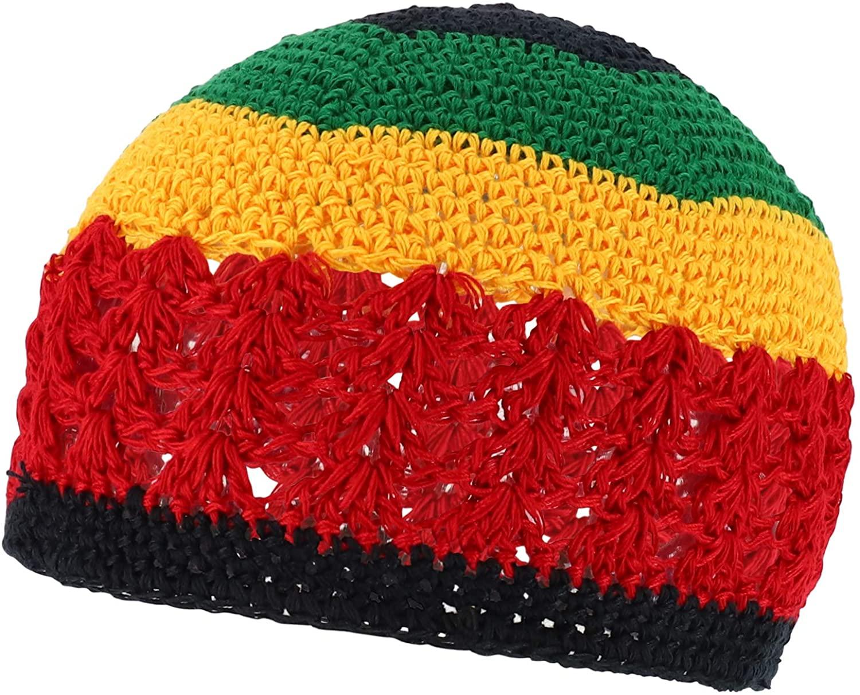 Armycrew Rasta Jamaica Crochet Knit Stretchable Skull Beanie Hat