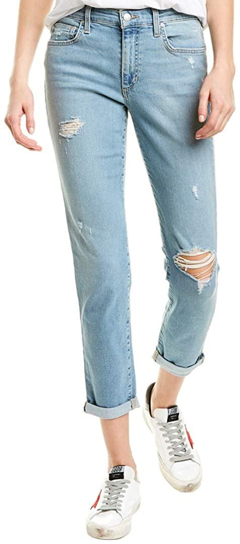 Joe's Womens Jeans 26x27 Boyfriend Slim Ankle Ripped Stretch Blue 26