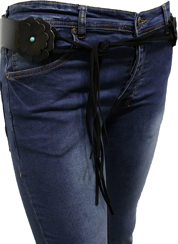 TFJ Women Western Faux Leather Tie Belt Hip Waist Blue Flowers M L XL Black