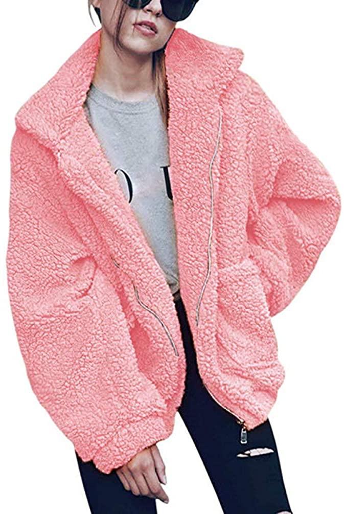LUCACO Womens Coat Casual Lapel Fleece Fuzzy Faux Shearling Zipper Warm Winter Oversized Outwear Jackets