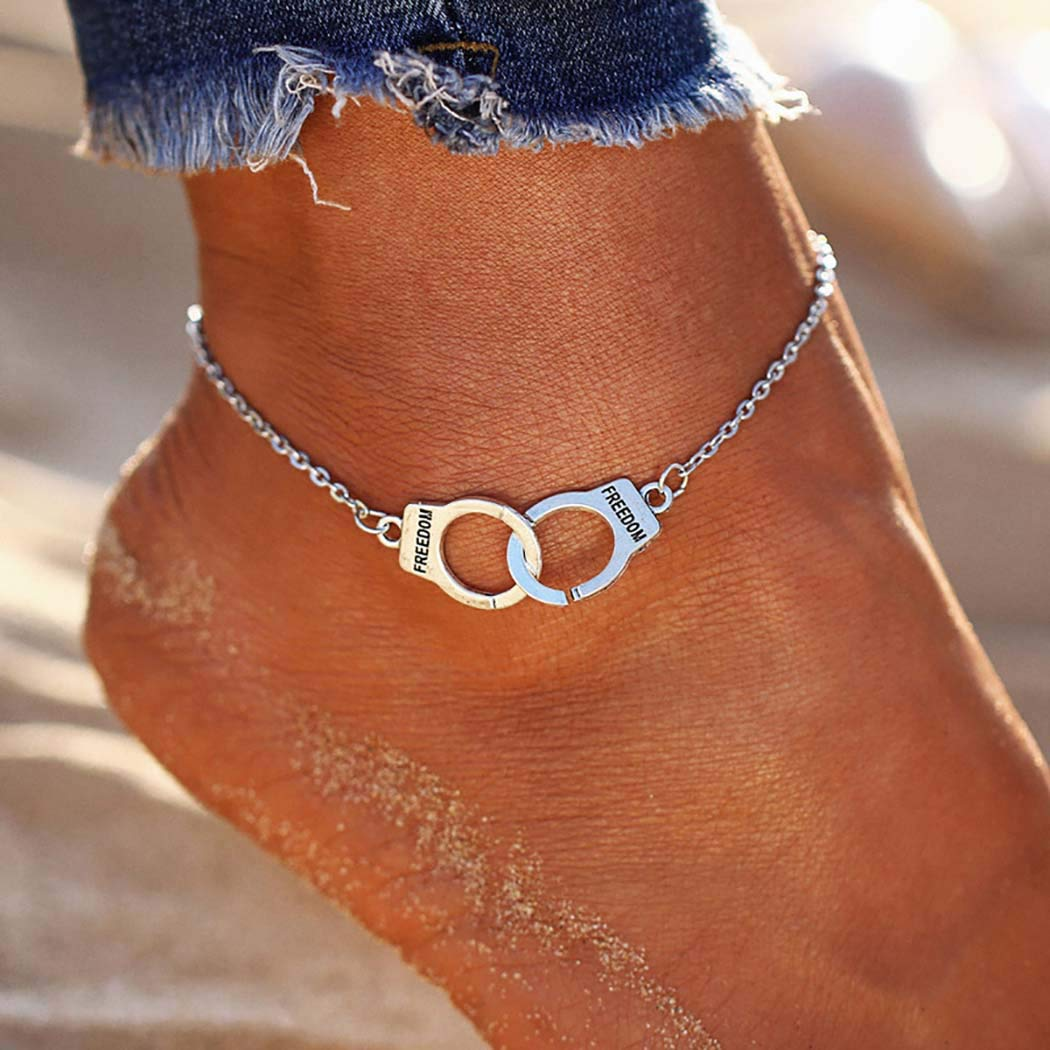 Obmyec Punk Handcuffs Anklets Fashion Ankle Bracelet Dainty Foot Chain Jewelry for Women and Girls (Silver)