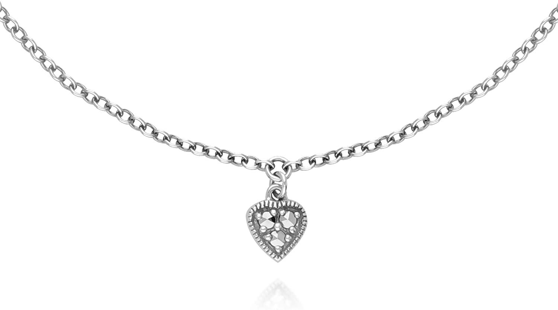 Gemondo 925 Sterling Silver Marcasite Heart Anklet