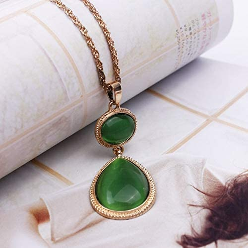 Davitu Witches of East End Pendant Necklaces 2017 New Fashion Hyperbol Cat-Eye Stone Snake Chain Necklace Long Necklace 2Colors - (Metal Color: Green)