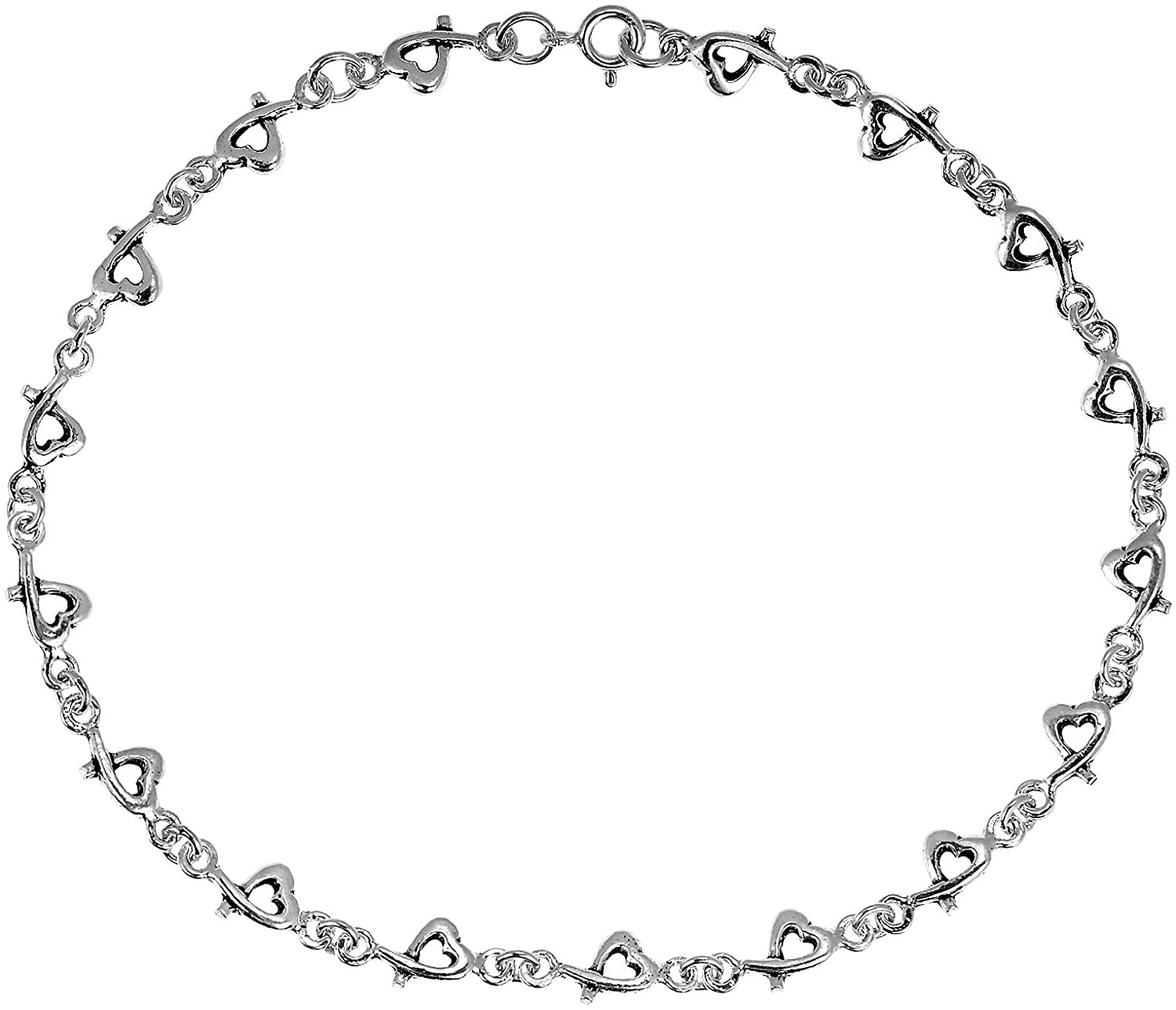 Love Intertwine Heart .925 Sterling Silver Link Anklet