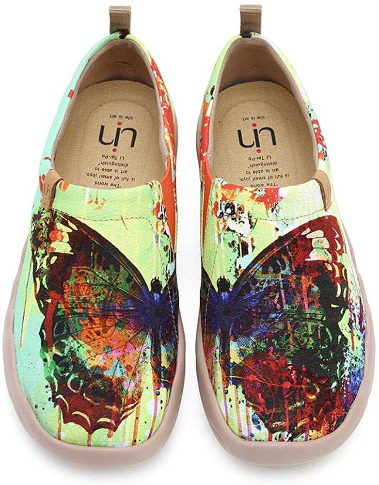 UIN Womens Butterfly Art Painted Canvas Slip-On Walking Sneakers Colorful Fashion Ladies Trave Shoes