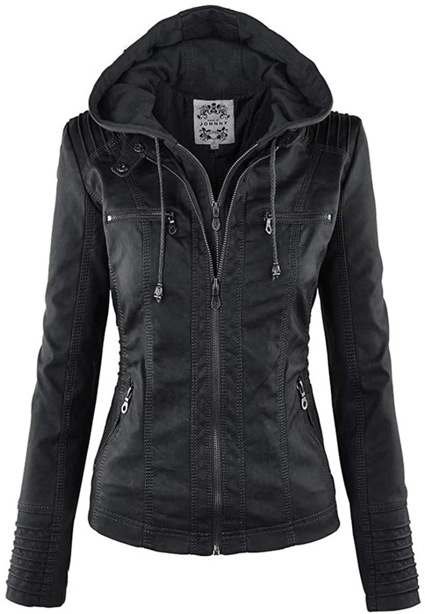 Myo WinterWomen's Hooded Faux Leather Moto Biker Jacket Casual Basic Coats Ladies Basic Jackets Waterproof Windproof Coats Female Women Coats Black