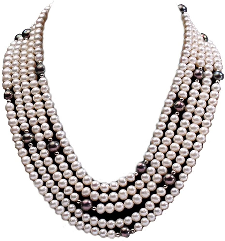 JYX 5-Strand White and Black Freshwater Pearl Necklace 17-21