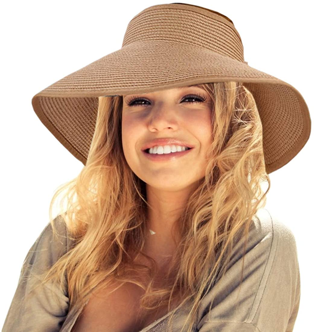 Sun Visor Hats for Women,Sun Protection Wide Brim Straw Roll Up Summer Beach Hat,UPF 50+ Packable Beach Cap for Sports Fan Visors. Khaki